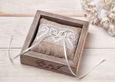 Wedding Ring Pillow Rustic Ring Bearer Box Monogrammed Wooden Box Linen Ring Pillow Personalized Keepsake Wedding Ceremony Rings Cushion by InesesWeddingGallery on Etsy