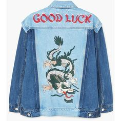 MANGO Embroidered denim jacket (€105) ❤ liked on Polyvore featuring outerwear, jackets, embroidered jean jacket, color block jacket, collar jacket, colorblock jackets and long sleeve jean jacket
