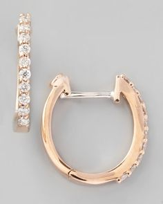 18k Rose Gold Diamond Baby Hoop Earrings by Roberto Coin at Neiman Marcus.