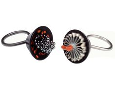 Suzanne Esser, Netherlands: Rings, ebony wood, hematite, paint, blood coral 2006