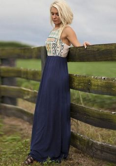 Blue Patchwork Print Sleeveless Vintage Maxi Dress. This is something I'd definitely wear