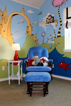 dr seuss nursery. Probably not as a nursery, but maybe a mural in the library
