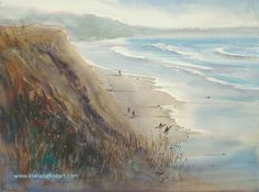 "Surfers, Del Mar, California I"" watercolor by Keiko Tanabe"