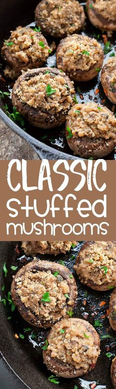 These classic stuffed mushrooms are a total crowd pleaser! Serve them up as a quick and easy party appetizer or as a tasty vegetarian side dish! Party Snacks, Appetizers For Party, Appetizer Recipes, Party Dips, Vegetarian Side Dishes, Vegetarian Recipes, Cooking Recipes, Easy Vegetarian Appetizers, Drink Recipes