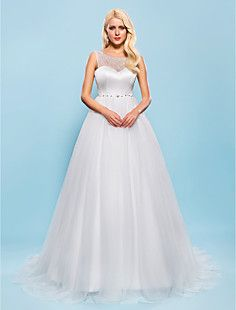 Ball Gown Scoop Court Train Tulle Wedding Dress – USD $ 199.99