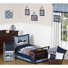 Shop for Sweet Jojo Designs Ocean Blue Dolphin, Whale, Starfish Sea Life Toddler Bed in a Bag Set - Multi. Get free delivery On EVERYTHING* Overstock - Your Online Kids Bedding Store! Nautical Bedding Sets, Beach Bedding Sets, Coastal Bedding, Luxury Bedding, Toddler Bed Comforter, Bed Comforter Sets, Diy Toddler Bed, Boy Toddler, Bed In A Bag