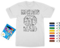Bachelorette Coloring Shirts With Fabric Markers! Bride and Bridesmaid Gifts, Hen Party Favors by Basic Bride Co. This unique and fun bachelorette party idea is one-of-a-kind! Get these soft, lightweight t-shirts as a gift for your girls before your night out or weekend getaway. A fun activity or game for the night before the wedding too and wear the shirts while getting ready on the wedding day. This is why we love Etsy! So many original and fun gifts for weddings, hen parties,