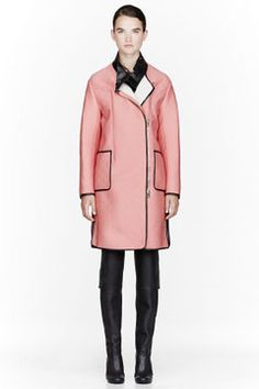 3.1 PHILLIP LIM Pink Neoprene & leather Waffle-Embossed bib-front coat on shopstyle.com