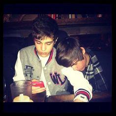 Austin Mahone and Alex Constancio. getting sleepy