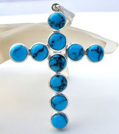 Large Sterling Silver Blue Turquoise Cross Pendant 925