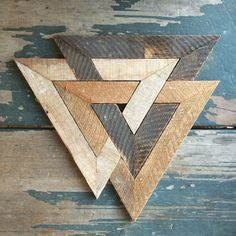 Norse trinity made from recycled lath. Colors are as I found them.