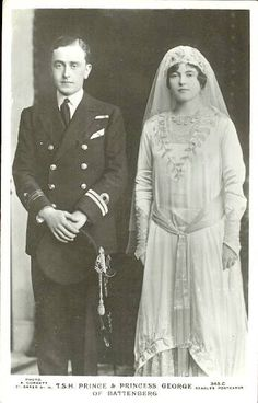 George 2nd Marquess of Milford Haven (nee Prince George of Battenberg) and his bride Nadejda (Nada) de Torby.  Nadejda was a daughter of Grand Duke Michael of Russia, but her parents' marriage was morganatic so she took her title from her mother, Countess Sophie von Merenberg.