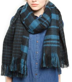 a2db1cf3a230 Teal Check Scarf   New Look Checked Scarf, Latest Trends, New Look, Scarves