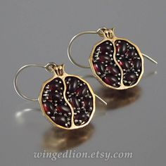 POMEGRANATE garnet silver and bronze earrings  Ready by WingedLion
