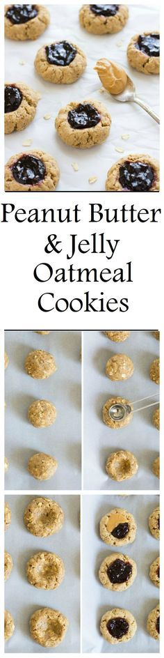 Peanut butter and jelly oatmeal cookies are a fun and wholesome treat for all ages! They're also vegan, gluten-free, oil-free, and refined sugar-free!