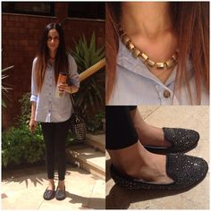 Amani Ghareeb - H&M Gold Necklace, H&M Blue Jeans Shirt, Zara Black High Waisted Pants, Bosanova , Barcelona Spain Studded Black And Silver Flats, Steps Bag, Casio Vintage Gold Watch, Starbucks Mug - Sunny day at uni