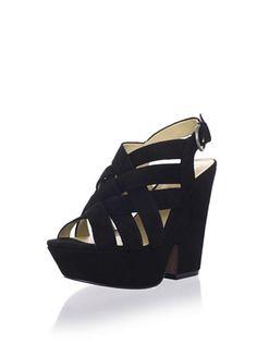 90% OFF Luxury Rebel Women's Rea Wedge Sandal (Black)