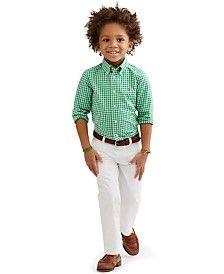 Ralph Lauren Little Boys' Polished Favorites Plaid Poplin Shirt & Chino Pants