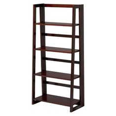Linon Dolce 4-Shelf Folding Bookcase - Dark Walnut