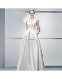 A-linje Bateau/Båtringning Fickor Billiga Bröllopsklänningar