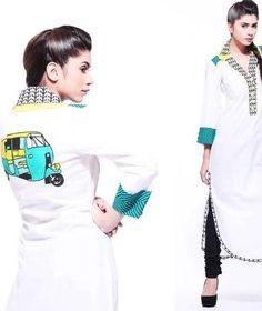 Pakistani fashion. Rickshaw motif.