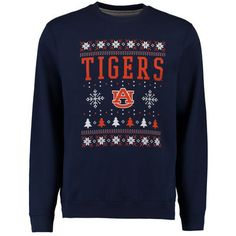 Auburn Tigers Navy Ugly Christmas Fleece Crew Neck Sweatshirt