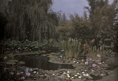 Undated autochrome of a water lily garden.Photograph by Franklin Price Knott, National Geographic