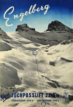 Jochpass Lift in Engelberg Switzerland Vintage Ski Posters, Art Deco Posters, Engelberg Switzerland, Graphic Illustration, Ephemera, Winter Resorts, Skiing, Sports Posters, Swiss Design