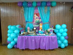 Ariel Birthday Party Fresh the Little Mermaid Birthday Party Dessert Buffet Also Birthday Party Desserts, 4th Birthday Parties, Birthday Party Decorations, Birthday Ideas, Birthday Balloons, 5th Birthday, Little Mermaid Birthday, Little Mermaid Parties, The Little Mermaid