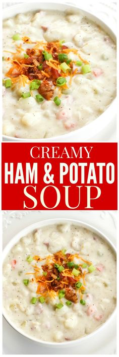 Ham and Potato Soup - so comforting and warm on a cold day! Crockpot Recipes, Soup Recipes, Cooking Recipes, Oven Recipes, Chili Recipes, Diabetic Recipes, Potato Recipes, Healthy Recipes, Fun Easy Recipes