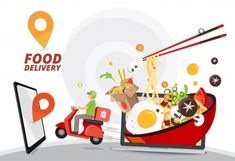 Food delivery service, fast food deliver... | Premium Vector #Freepik #vector #food #man #mobile #delivery Fast Food Delivery Service, Delivery App, Pizza Delivery, Pizza Background, Cute Pizza, Hand Silhouette, Facebook Cover Template, Red Motorcycle, Doodle Icon