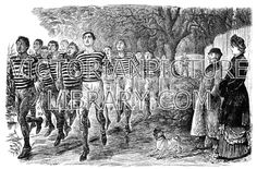 Running. Victorian picture of a large group of mud-splashed cross-country men runners wearing long-sleeved striped singlets and breeches. They are watched by a formally-dressed man and woman. Download high quality jpeg for just £5. Perfect for framing, logos, letterheads, and greetings cards.