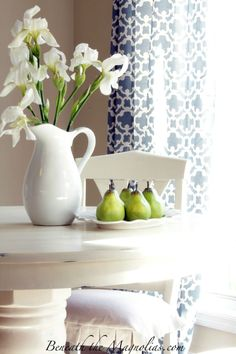 love the white table; fresh kitchen.  drapes are from target