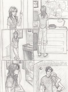 cutest drawing of percy and annabeth when piper walked into Chiron's office