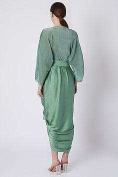 Olive Green Pleated Dhoti Dress by Shivangi Jain Set Saree, Saree Gown, Lehenga Saree, Designer Wear, Designer Dresses, Pleated Jumpsuit, Indian Fashion Designers, Pernia Pop Up Shop, Resort Wear