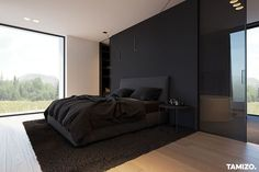 Awesome modern bedroom designs are available on our website. Read more and you will not be sorry you did. Black Bedroom Design, Luxury Bedroom Design, Home Room Design, Master Bedroom Design, Home Interior Design, Modern Luxury Bedroom, Modern Room, Bedroom Designs, Bedroom Setup