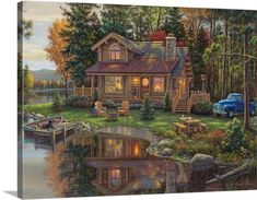 Kim Norlien Premium Thick-Wrap Canvas Wall Art Print entitled Peace Like a River Cabin, None