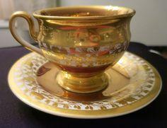 ANTIQUE GERMAN  TEA CUP AND SAUCER GOLD LUSTER c1820+ GERMAN ENGLISH #Elizabethan