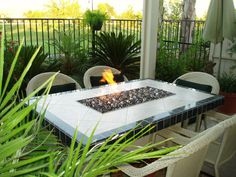 The best burner accessories for outdoor stone top fire pit tables with glass fire in fire bowls. Glass Rocks, Fire Glass, Gas Fire Table, Outdoor Stone, Outdoor Spaces, Outdoor Decor, Fire Bowls, Outdoor Gardens, Outdoor Furniture Sets