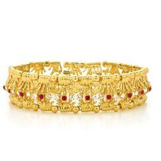 #Jacqueline Kennedy Royal Crown Ruby Colour Bracelet #Replica by Camrose & Kross