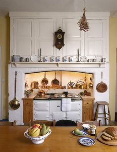 Cupboards And Shelf Above The Range Cooker Hanging Pots A Farmhouse Kitchen Table Make