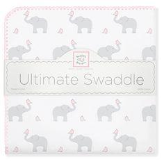 Swaddle Designs - Ultimate Swaddle Blanket - Elephant & Chickies #ElephantBabyShower #MadeinUSA #MadeinAmerica #Seattle