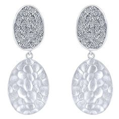 """Gabriel Sterling Silver """"Souviens"""" Collection White Sapphire Pave Earrings Featuring 0.46 Carats Total Weight Round Cut White Sapphires with a Hammered Finish. Style EG12992SVJWS"""