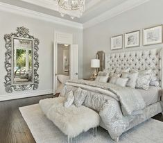 Master bedrooms decor - Luxury Romantic Bedroom with white tufted bed and shipskin bench Home Decor Bedroom, Bedroom Makeover, Bedroom Decor, Bedroom Interior, Romantic Bedroom Decor, Small Bedroom, Home Bedroom, Home Decor, Luxurious Bedrooms