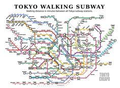 Walking time between all Tokyo subway stations