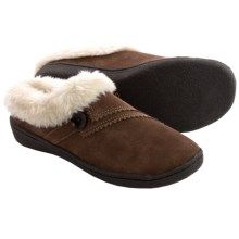Clarks Button Clog Slippers - Suede, Faux-Fur Lined (For Women) in Saddle - Closeouts