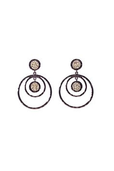 """Layered circle earrings. Drop approx 2.5"""" Post back.Lead free made of mixed materials.  Layered Circle Earrings by Crystal Avenue. Accessories - Jewelry - Earrings Indiana"""