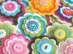 SPECIAL OFFER - 20 x Handmade Felt Flower Embellishments - You Choose