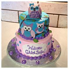 Owl baby shower cake :)