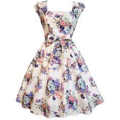 Vintage White Floral Swing Dress ($40) ❤ liked on Polyvore featuring dresses, vestidos, short dresses, robe, floral swing dress, floral printed dress, floral dresses, champagne dress and champagne short dresses